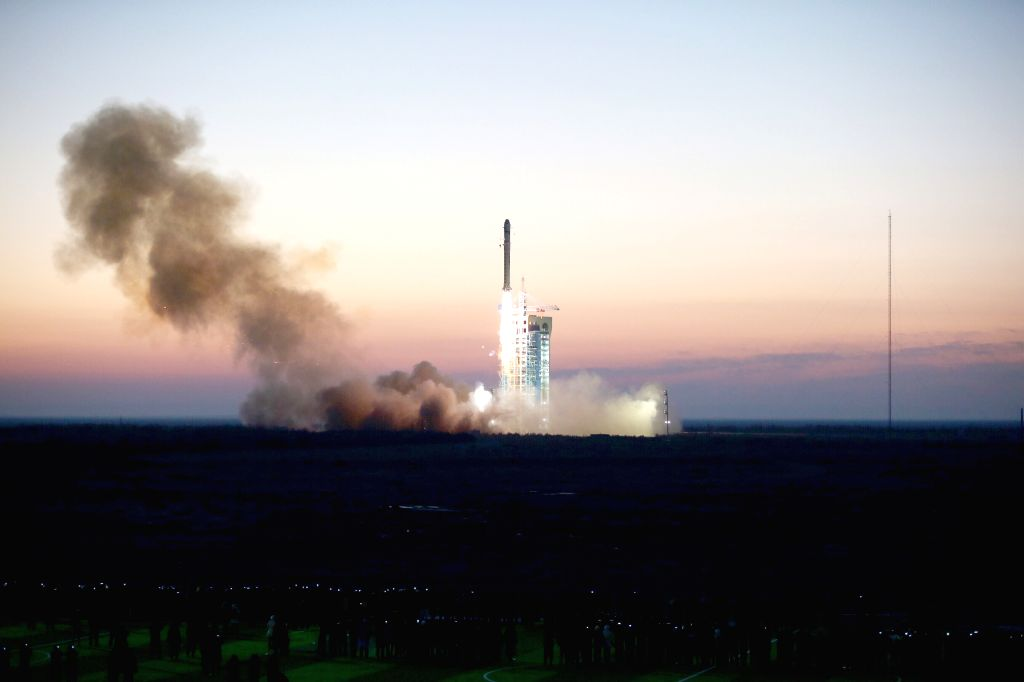 "JIUQUAN, Dec. 17, 2015 (Xinhua) -- A Long March 2-D rocket carrying the Dark Matter Particle Explorer Satellite blasts off at the Jiuquan Satellite Launch Center in Jiuquan, northwest China's Gansu Province, Dec. 17, 2015. The satellite, nicknamed ""W"