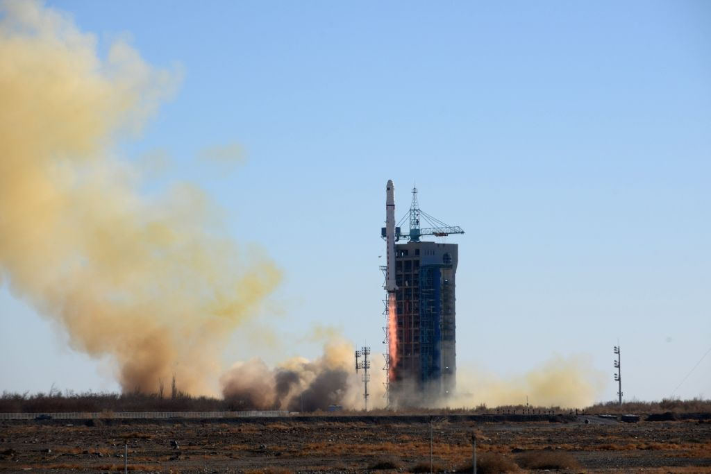 JIUQUAN, Dec. 7, 2018 - A Long March-2D rocket carrying two satellites for Saudi Arabia blasts off from the Jiuquan Satellite Launch Center in northwest China, Dec. 7, 2018. China launched the two ...