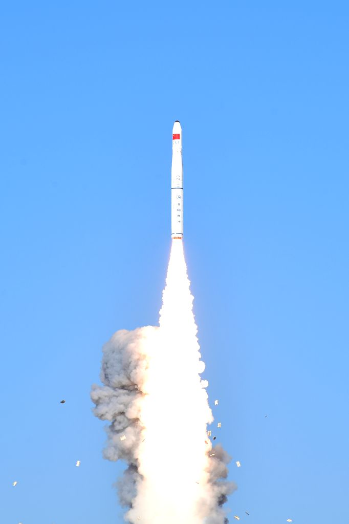 JIUQUAN, Jan. 21, 2019 - A Long March-11 rocket carrying two satellites for multispectral imaging and two test satellites blasts off from the Jiuquan Satellite Launch Center in northwest China, Jan. ...