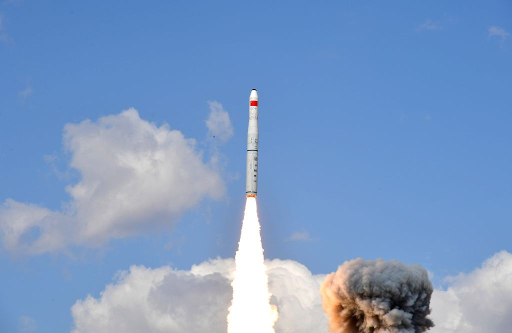 JIUQUAN, Sept. 19, 2019 (Xinhua) -- A Long March-11 carrier rocket carrying five new remote-sensing satellites blasts off from the Jiuquan Satellite Launch Center in northwest China's Gansu Province, Sept, 19, 2019. Five new remote-sensing satellites