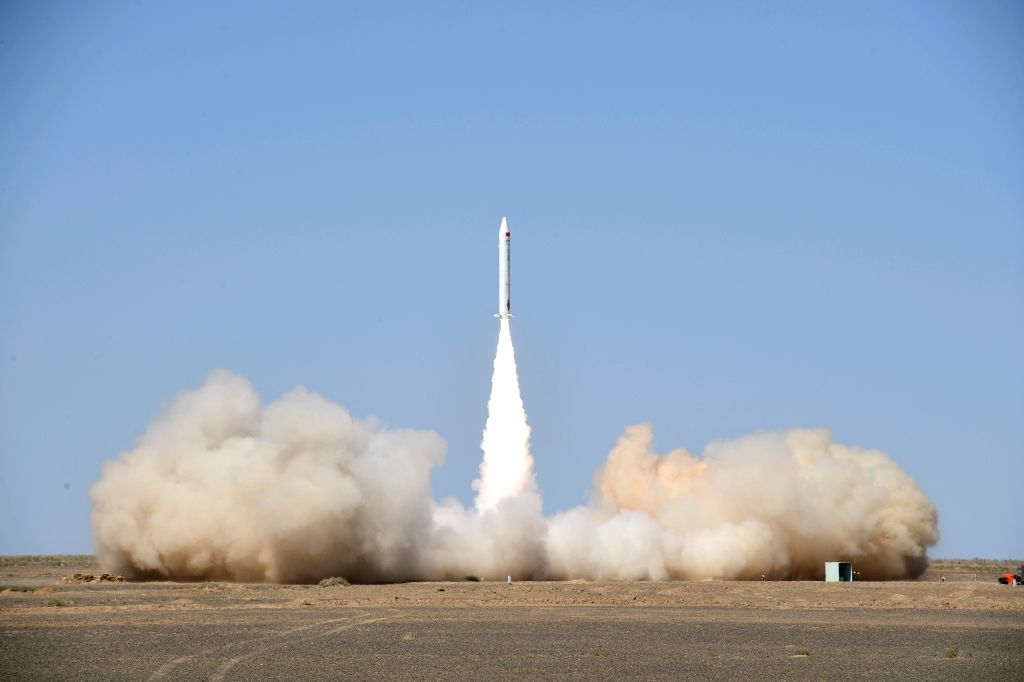 JIUQUAN, Sept. 5, 2018 (Xinhua) -- A Chinese private company sends a suborbital rocket into space at 1:00 p.m. from the Jiuquan Satellite Launch Center in northwest China, Sept. 5, 2018. The SQX-1Z was developed by iSpace, a Beijing-based private roc