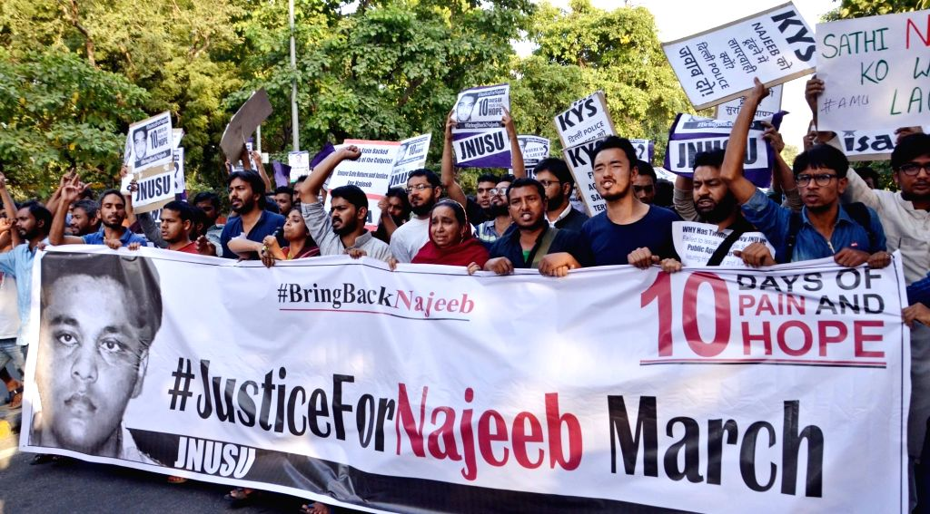 JNU students and faculty stage a demonstration to  over the disappearance of Najeeb Ahmed, who has been missing for the past few days. in New Delhi on Oct 21, 2016.