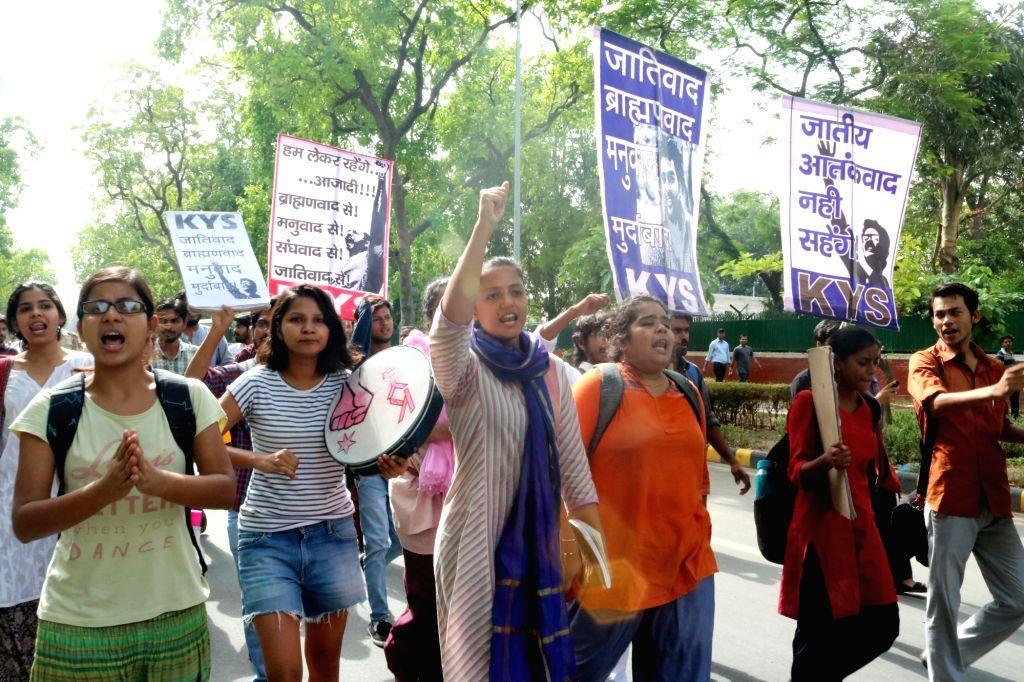JNU students led by Kanhaiya Kumar, Shehla Rashid Shora and Umar Khalid stage a demonstration against University of Hyderabad VC in New Delhi, on May 24, 2016. - Kanhaiya Kumar