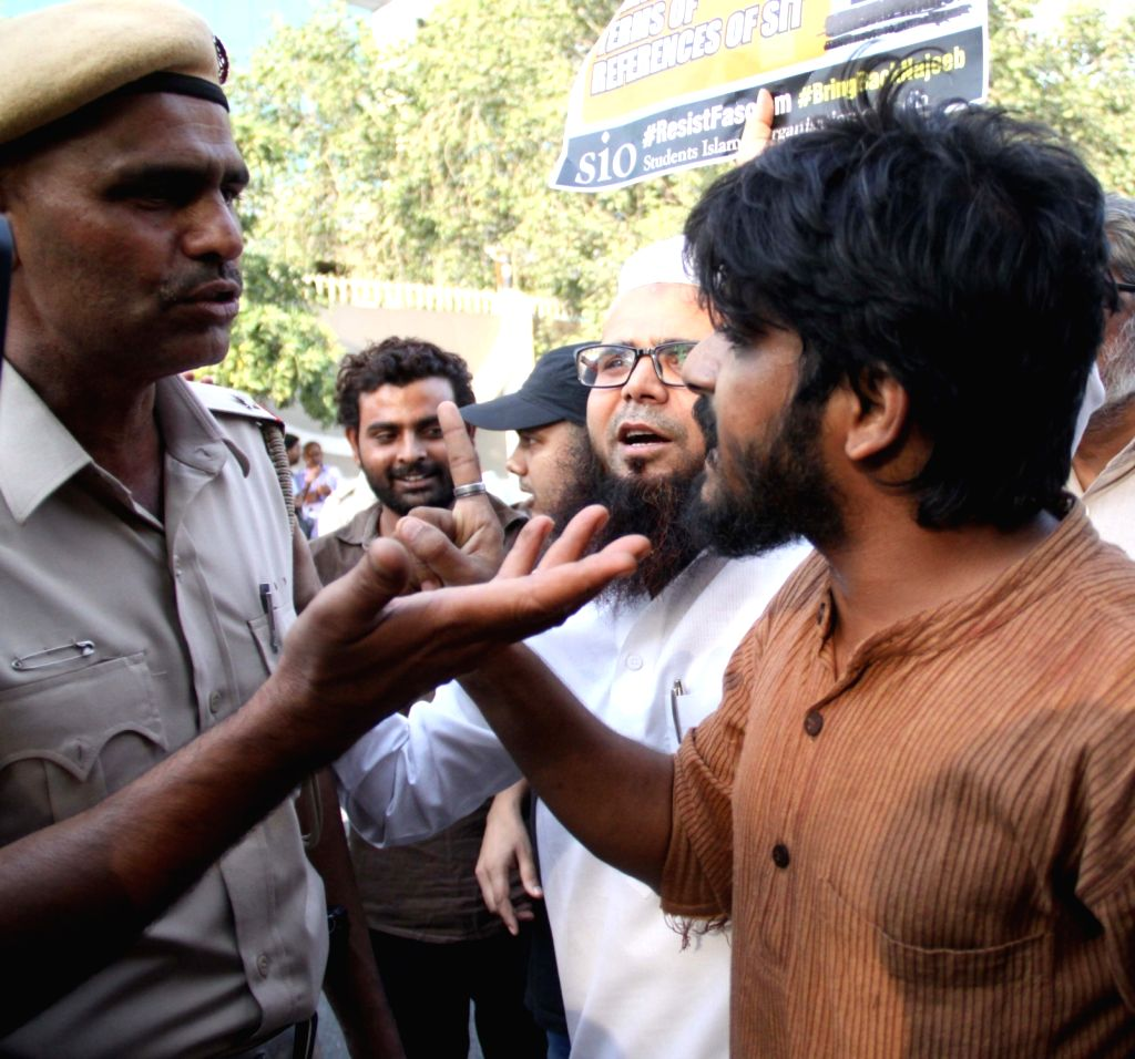 JNU students stage a demonstration at CBI headquarters to demand that the agency trace missing Jawaharlal Nehru University (JNU) scholar Najeeb Ahmed in New Delhi, on Oct 13, 2017. Ahmed ...