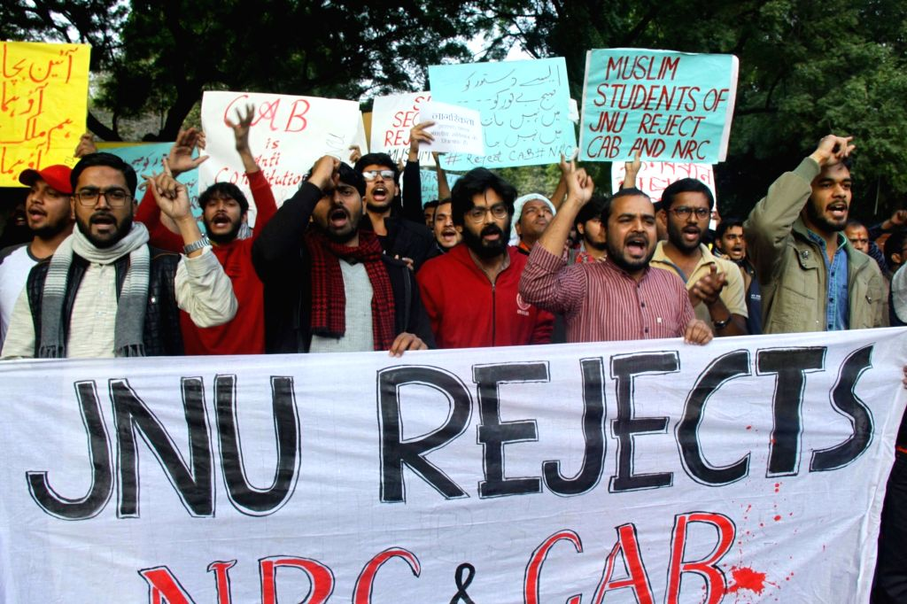JNU students stage a protest against NRC and CAB in New Delhi on Dec. 7, 2019.