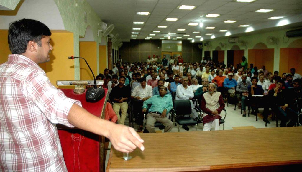 JNUSU President Kanhaiya Kumar addresses during a seminar in Patna on Sept 20, 2016. - Kanhaiya Kumar