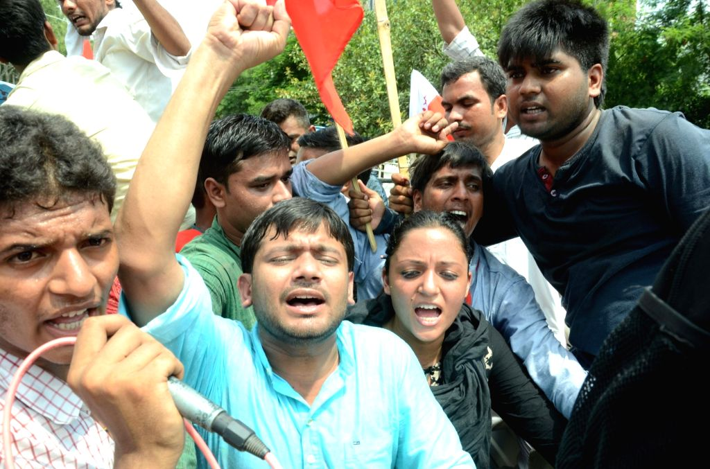 JNUSU president Kanhaiya Kumar and vice president Shehla Rashid stage a demonstration against quality of education imparted in Patna University in Patna, on June 29, 2016. - Kanhaiya Kumar