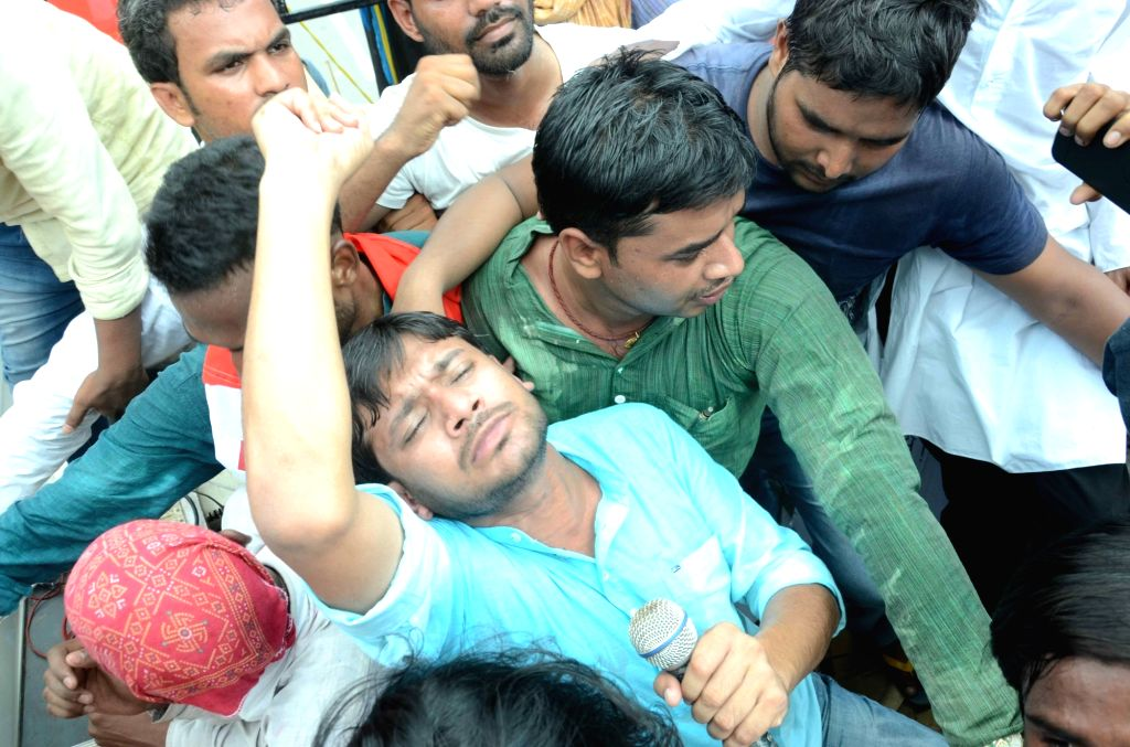JNUSU president Kanhaiya Kumar  leads a demonstration against quality of education imparted in Patna University in Patna, on June 29, 2016. - Kanhaiya Kumar