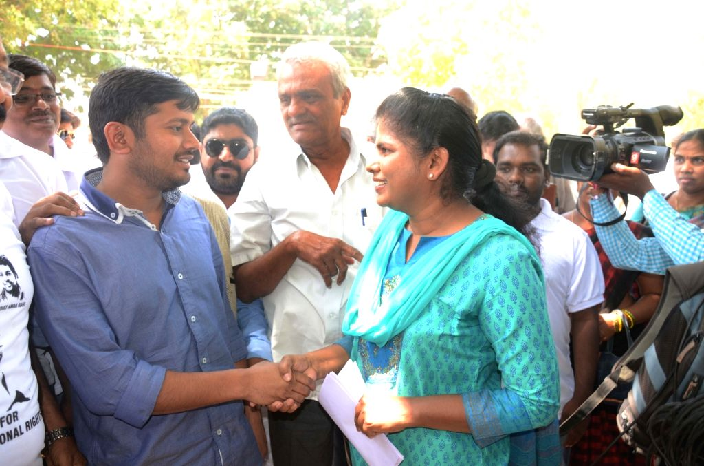 JNUSU president Kanhaiya Kumar meets students at University of Hyderabad on March 23, 2016. - Kanhaiya Kumar