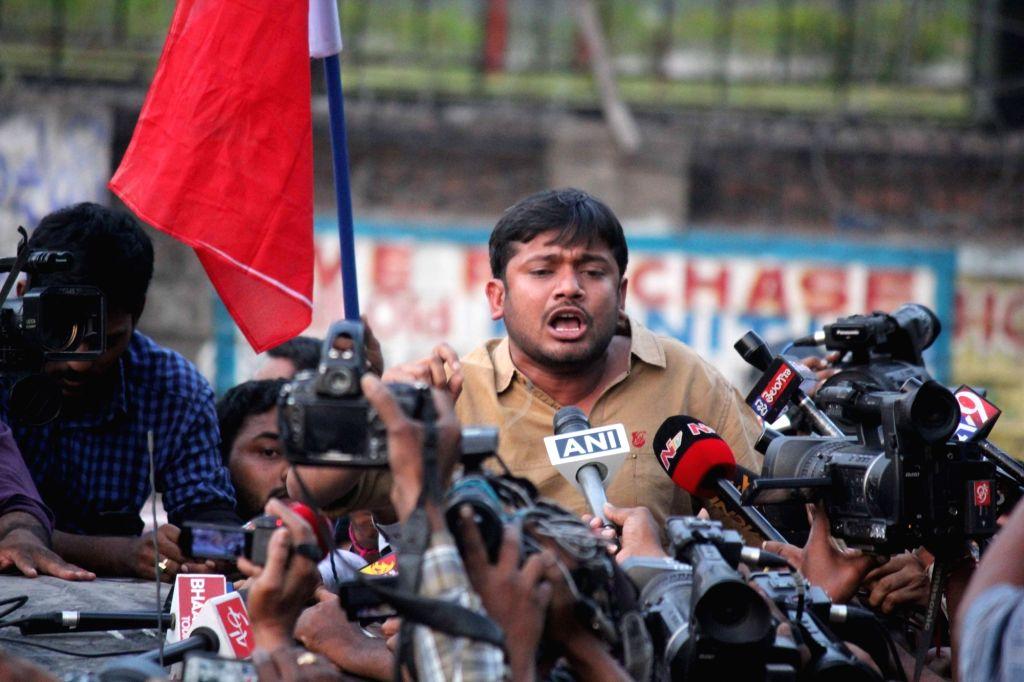 JNUSU president Kanhaiya Kumar talks to press in Hyderabad on March 23, 2016. - Kanhaiya Kumar