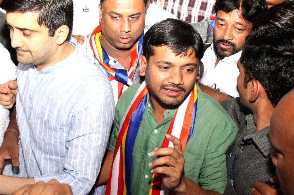 JNUSU president Kanhaiya Kumar visits Deekshabhoomi on 125th birth anniversary of Dr BR Ambedkar in Nagpur, on April 12, 2016. - Kanhaiya Kumar