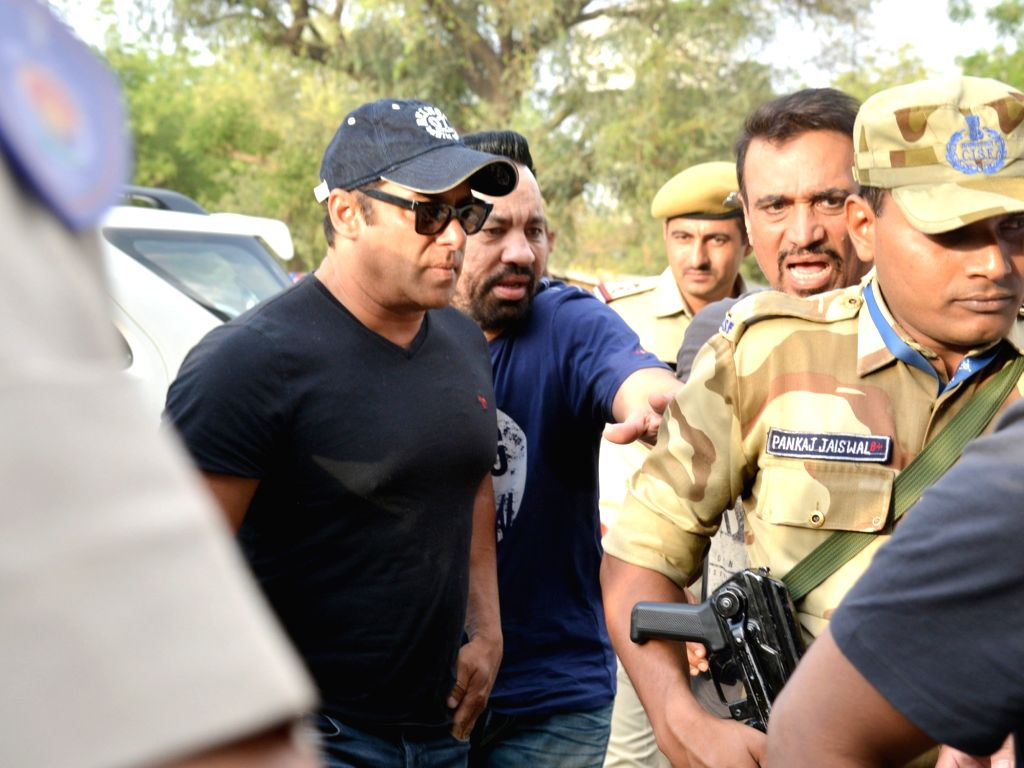 :Jodhpur: Actor Salman Khan seen at Jodhpur Airport on April 7, 2018. The actor was granted bail by a district and sessions court in Jodhpur on Saturday in the 1998 black buck poaching case in ...
