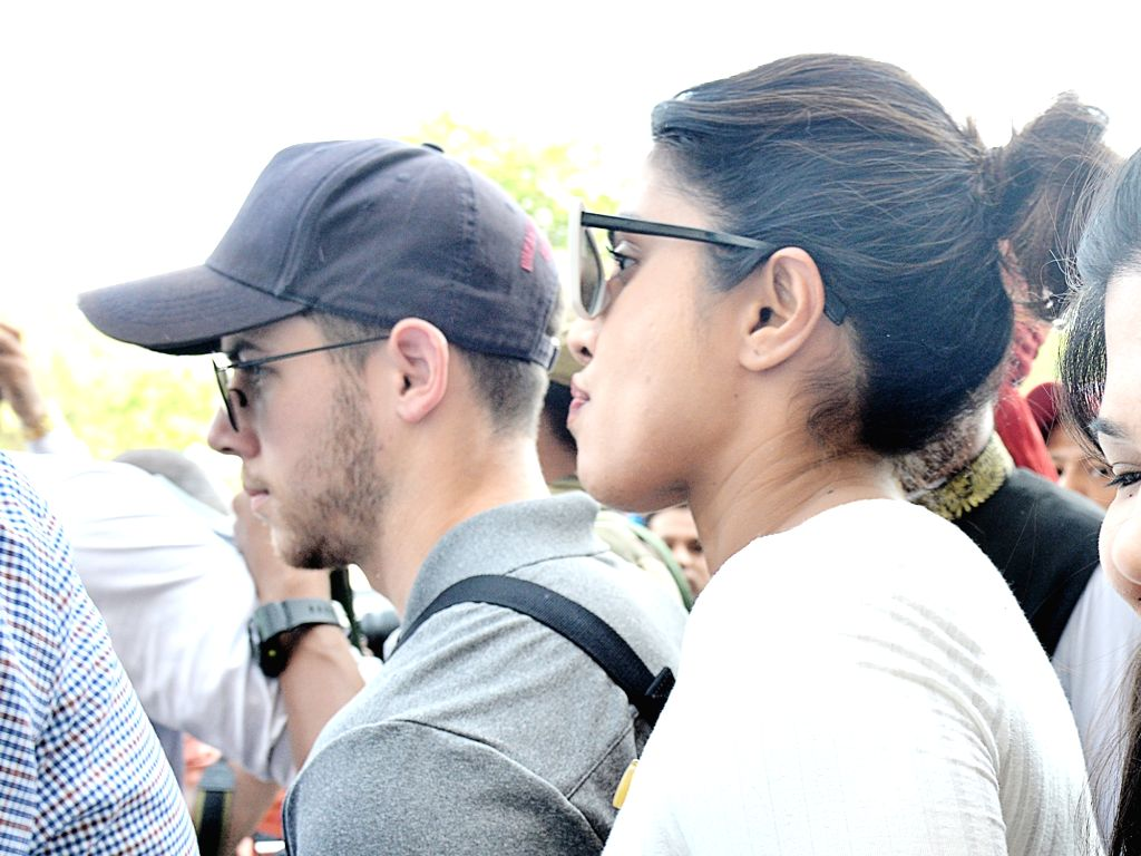 Jodhpur: Actress Priyanka Chopra and her fiance Nick Jonas arrive at Jodhpur airport on Oct 2, 2018. (Photo: IANS) - Priyanka Chopra