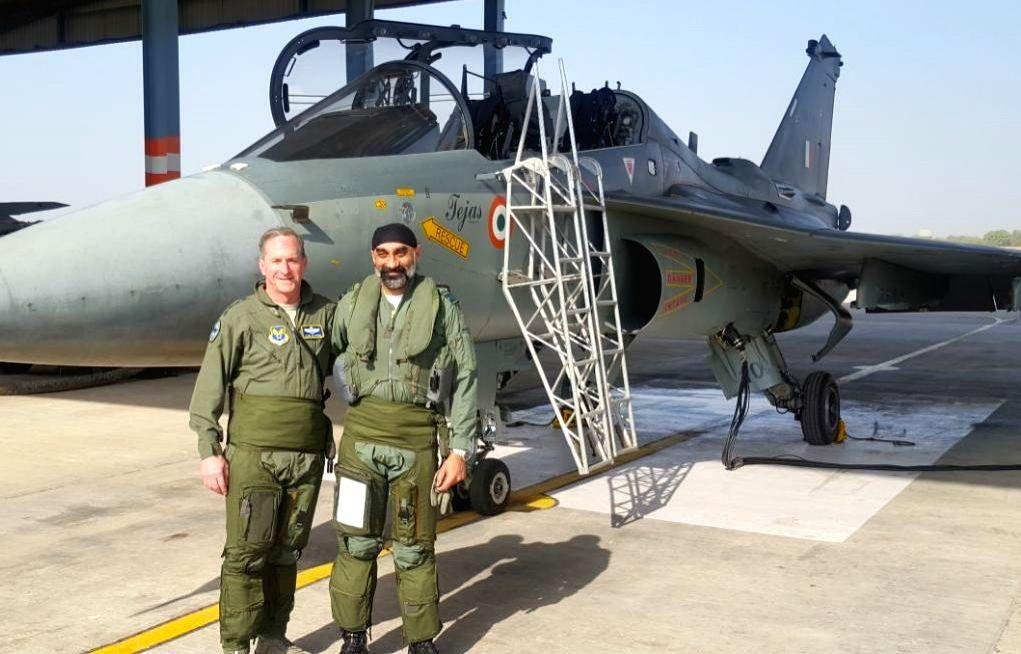 :Jodhpur: Chief of US Air Force, General David L. Goldfein with Air Vice Marshal A.P. Singh at the IAF station in Jodhpur on Feb 3, 2018. The Chief of US Air Force, General David L. Goldfein, flew ...