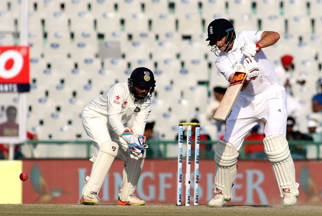 Joe Root of England in action on Day 3 of the third test match between India and England at Punjab Cricket Association IS Bindra Stadium, Mohali on Nov 28, 2016.
