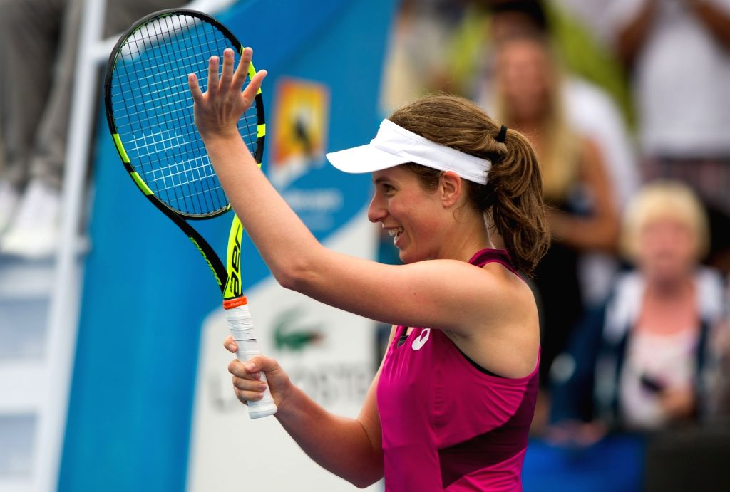 Johanna Konta of Britain competes during the second-round match of women's singles against Zheng Saisai of China at the Australian Open Tennis Championships in ...