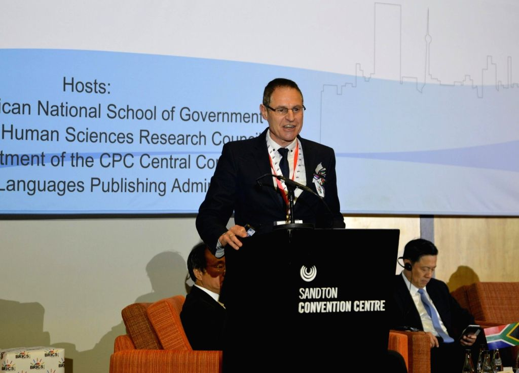 """JOHANNESBURG, July 5, 2018 - Richard Levin, principal of South African National School of Government, speaks during a seminar entitled """"Contributing BRICS' Wisdom to Global Governance in the ..."""
