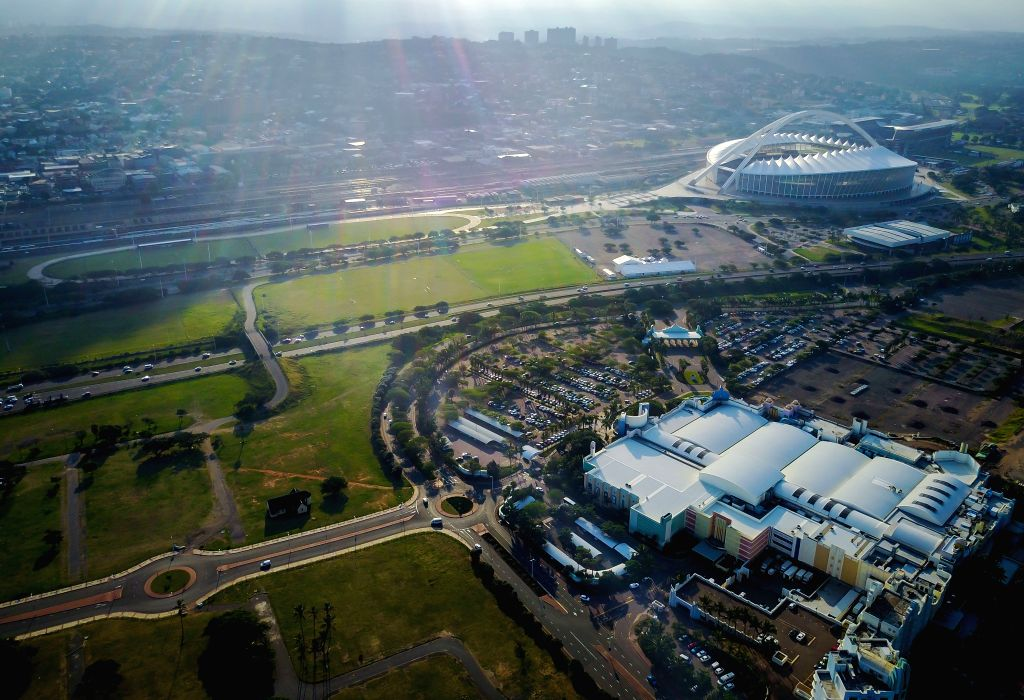 JOHANNESBURG, May 7, 2017 - Photo taken on May 4, 2017 shows an aerial view of the Moses Mabhida Stadium in Durban, KwaZulu-Natal Province, South Africa.