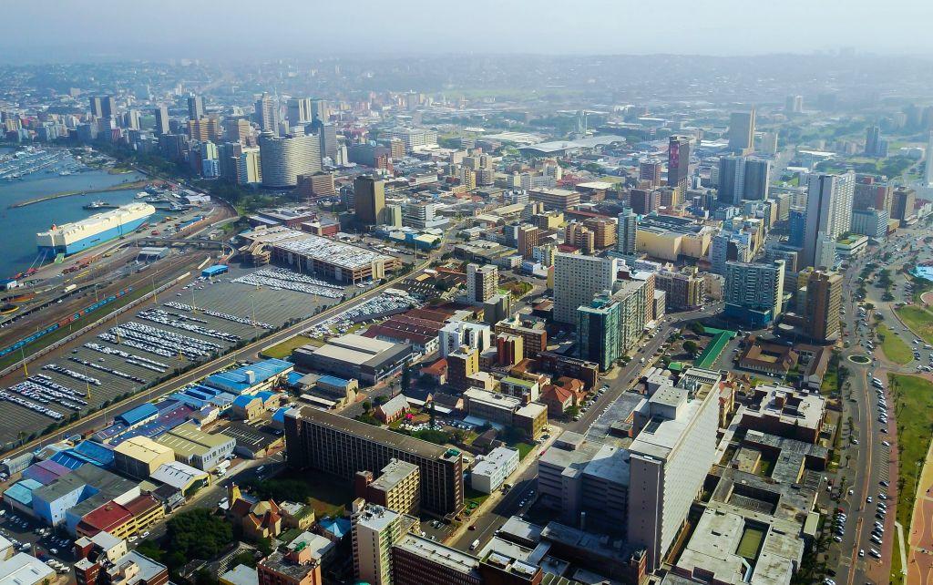 JOHANNESBURG, May 7, 2017 - Photo taken on May 6, 2017 shows an aerial view of Durban, KwaZulu-Natal Province, South Africa. (Xinhua/Zhai Jianlan)