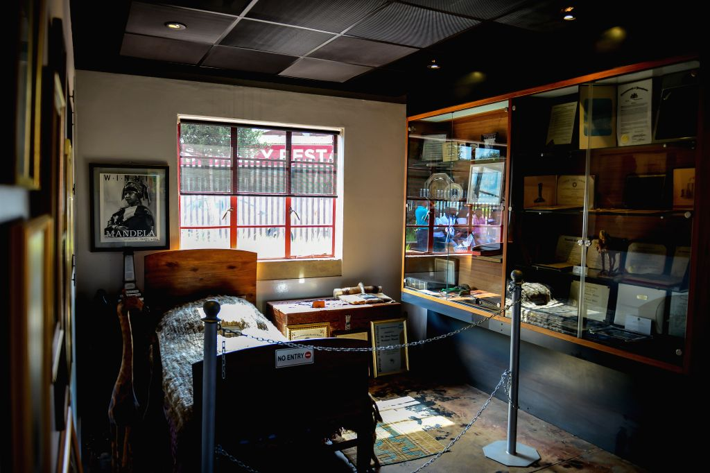 Johannesburg (South Africa): Photo taken on Dec. 4, 2014 shows the bedroom that Nelson Mandela lived at the Nelson Mandela National Museum in Soweto, southwest of Johannesburg, South Africa. The ...