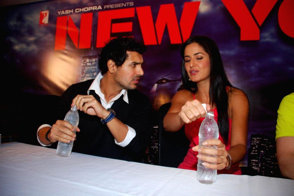 John Abraham and Katrina Kaif at a press meet of the film 'New York' at Yash Raj Studios, in Mumbai.