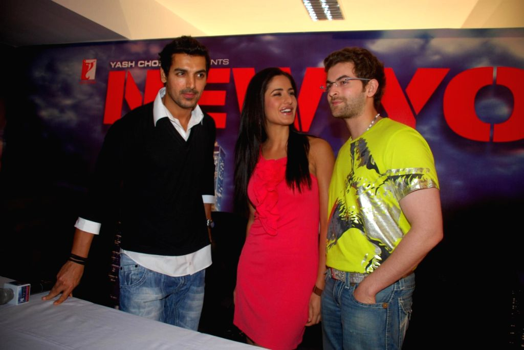 John Abraham, Katrina Kaif and Neil Nitin Mukesh at a press meet of the film 'New York' at Yash Raj Studios, in Mumbai.
