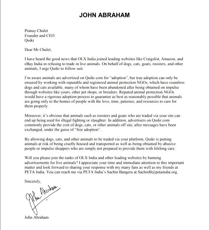 John Abraham wants online ads for live animals banned - John Abraham