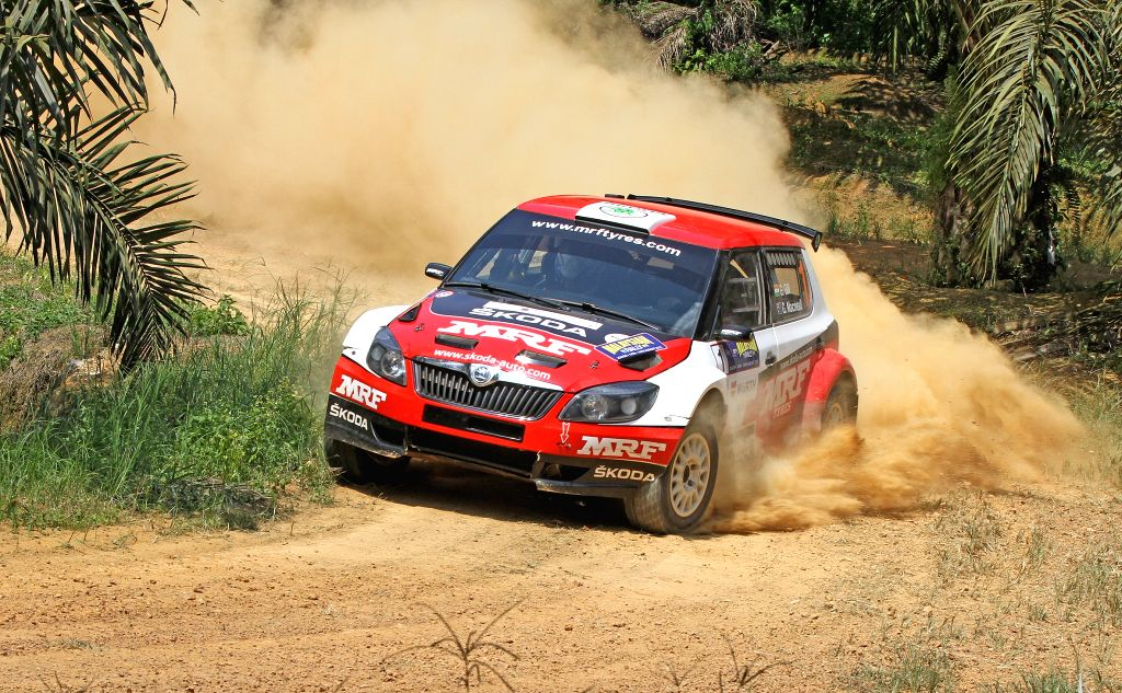 Johor Bahru: India`s Gaurav Gill of Team MRF in action during the Special Stages in the fourth round of the Asia Pacific Rally Championship in Johor Bahru, Malaysia on August 15, 2015.