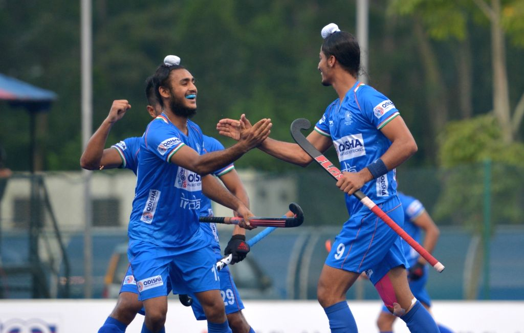Johor Bahru: Indian players celebrate after scoring a goal during the 9th Sultan of Johor Cup match between India and New Zealand in Johor Bahru, Malaysia, on Oct 13, 2019.