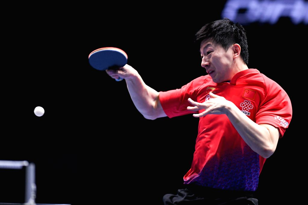 JOHOR BAHRU, July 18, 2019 - Ma Long of China competes during the men's singles first round match against Simon Gauzy of France at T2 Diamond 2019 Malaysia day 1 in Johor Bahru, Malaysia, July 18, ...