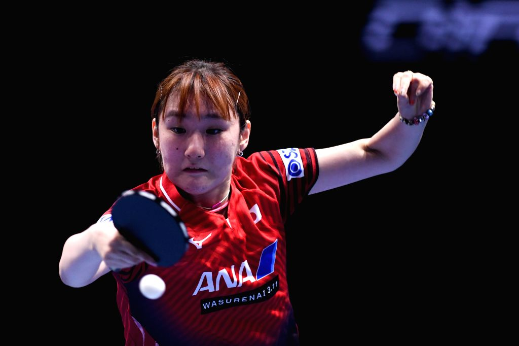 JOHOR BAHRU, July 18, 2019 - Miyu Kato of Japan competes during the women's singles first round match against her teammate Mima Ito at T2 Diamond 2019 Malaysia day 1 in Johor Bahru, Malaysia, July ...