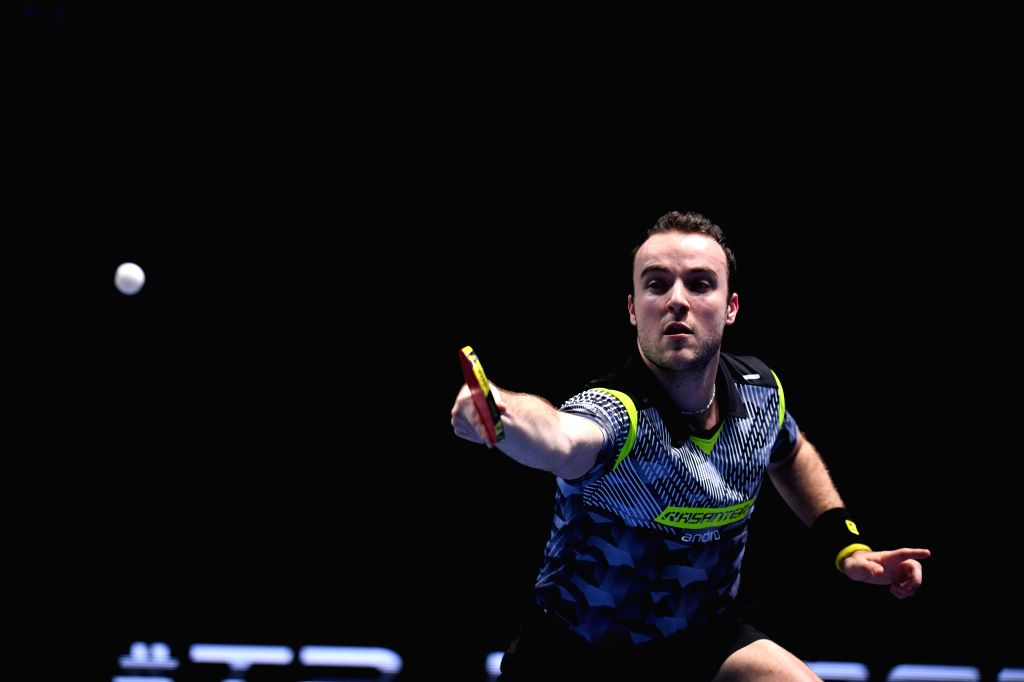 JOHOR BAHRU, July 18, 2019 - Simon Gauzy of France competes during the men's singles first round match against Ma Long of China at T2 Diamond 2019 Malaysia day 1 in Johor Bahru, Malaysia, July 18, ...