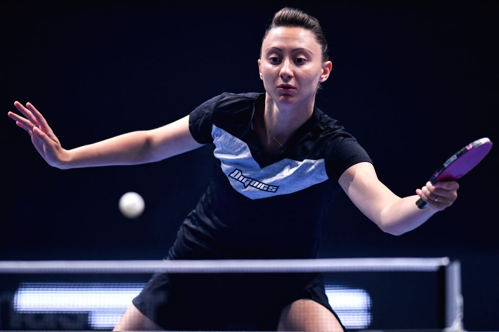 JOHOR BAHRU, July 18, 2019 - Sofia Polcanova of Austria returns the ball during the women's singles round of 16 match against Wang Manyu of China at T2 Diamond Malaysia table tennis tournament in ...