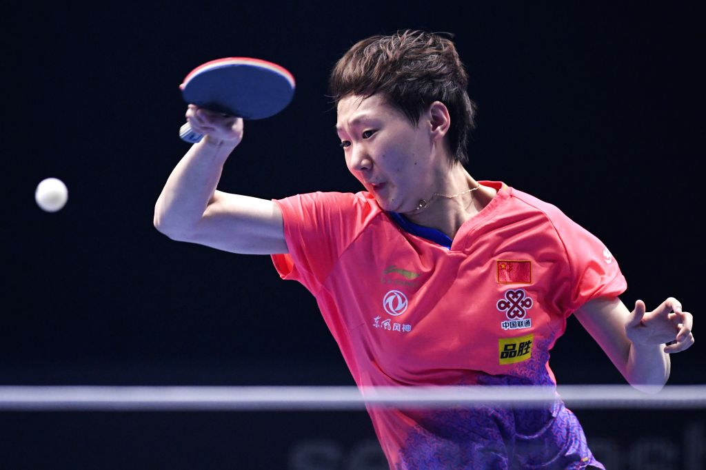 JOHOR BAHRU, July 18, 2019 - Wang Manyu of China returns the ball during the women's singles round of 16 match against Sofia Polcanova of Austria at T2 Diamond Malaysia table tennis tournament in ...