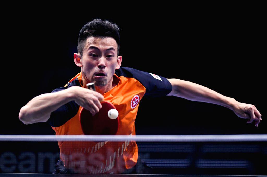 JOHOR BAHRU, July 18, 2019 - Wong Chun Ting competes during the men's singles round of 16 match between Wong Chun Ting of China's Hong Kong and Tomokazu Harimoto of Japan at T2 Diamond 2019 Malaysia ...