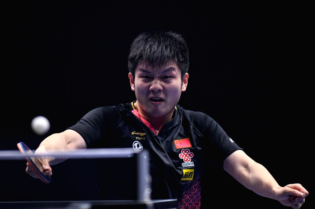 JOHOR BAHRU, July 19, 2019 - Fan Zhendong of China competes during the men's singles first round match against Hugo Calderano of Brazil at T2 Diamond 2019 Malaysia day 2 in Johor Bahru, Malaysia, ...