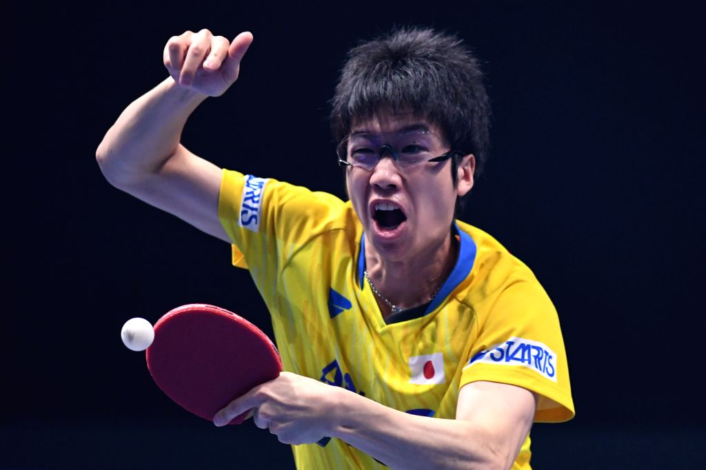 JOHOR BAHRU, July 19, 2019 - Jun Mizutani of Japan returns the ball during the men's singles first round match against Lin Yun-Ju of Chinese Taipei at T2 Diamond 2019 Malaysia day 2 in Johor Bahru, ...