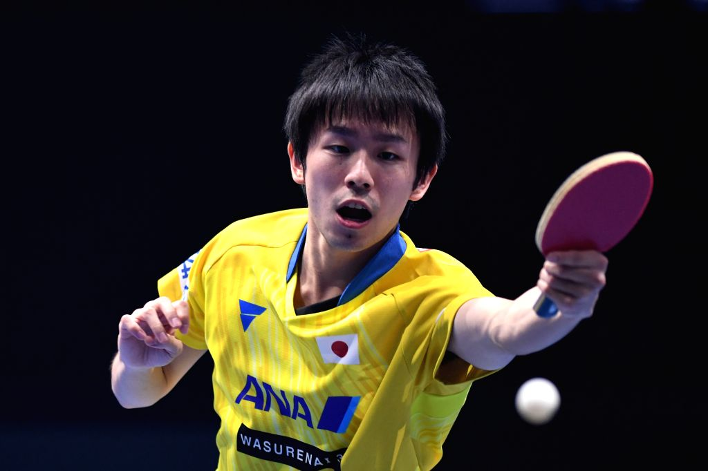 JOHOR BAHRU, July 19, 2019 - Koki Niwa returns the ball during a men's singles first round match between Koki Niwa of Japan and Mattias Falck of Sweden at T2 Diamond 2019 table tennis tournament in ...