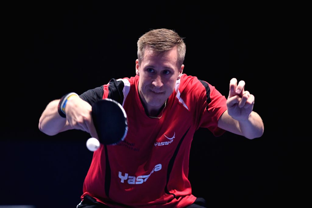 JOHOR BAHRU, July 19, 2019 - Mattias Falck returns the ball during a men's singles first round match between Koki Niwa of Japan and Mattias Falck of Sweden at T2 Diamond 2019 table tennis tournament ...
