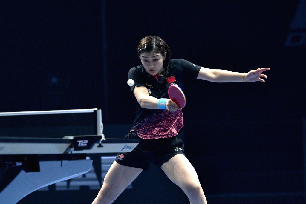 JOHOR BAHRU, July 20, 2019 - Chen Meng of China returns the ball during the women's singles quarterfinals match against Miyu Kato of Japan at T2 Diamond Malaysia 2019 in Johor Bahru, Malaysia, July ...
