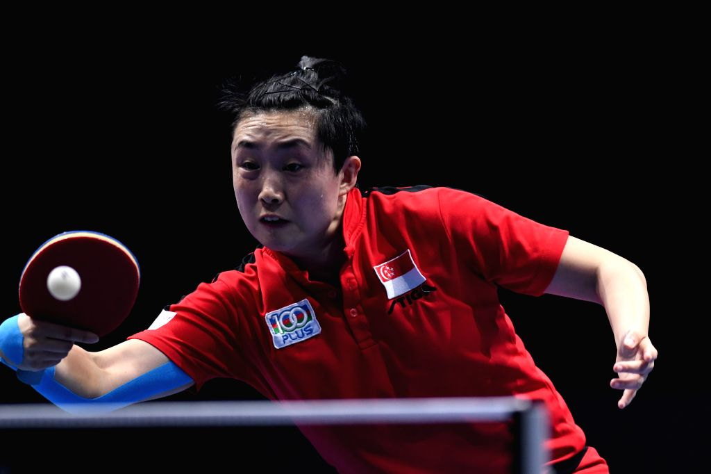 JOHOR BAHRU, July 20, 2019 - Feng Tianwei competes during the women's singles quarterfinal match between Ding Ning of China and Feng Tianwei of Singapure at T2 Diamond Malaysia 2019 in Johor Bahru, ...