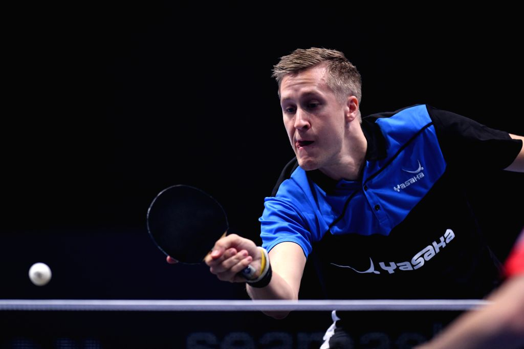 JOHOR BAHRU, July 20, 2019 - Mattias Falck of Sweden competes during the men's singles quarterfinal match against Xu Xin of China at T2 Diamond Malaysia 2019 in Johor Bahru, Malaysia, July 20, 2019.
