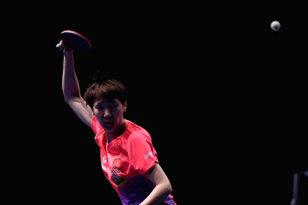 JOHOR BAHRU, July 20, 2019 - Wang Manyu of China competes during the women's singles quarterfinal match against Han Ying of Germany at T2 Diamond Malaysia 2019 in Johor Bahru, Malaysia, July 20, ...