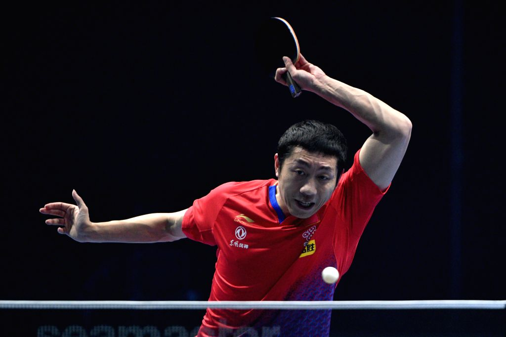 JOHOR BAHRU, July 20, 2019 - Xu Xin of China competes during the men's singles quarterfinal match against Mattias Falck of Sweden at T2 Diamond Malaysia 2019 in Johor Bahru, Malaysia, July 20, 2019. ...