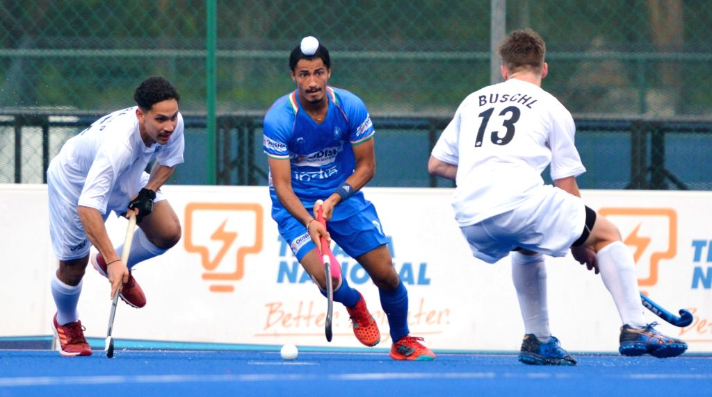 Johor Bahru: Players in action during the 9th Sultan of Johor Cup match between India and New Zealand in Johor Bahru, Malaysia, on Oct 13, 2019.