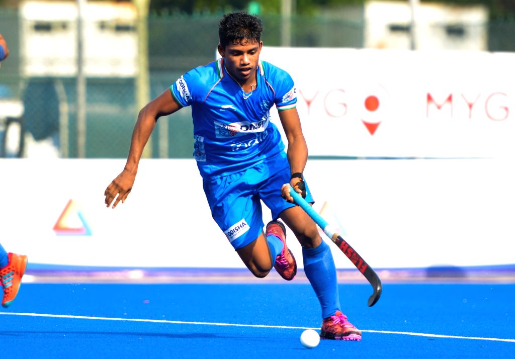 Johor Bahru: Players in action during the final round between the Indian Junior Men's Hockey Team and Great Britain during the 9th Sultan of Johor Cup in Johor Bahru, Malaysia on Oct 18, 2019. The ...