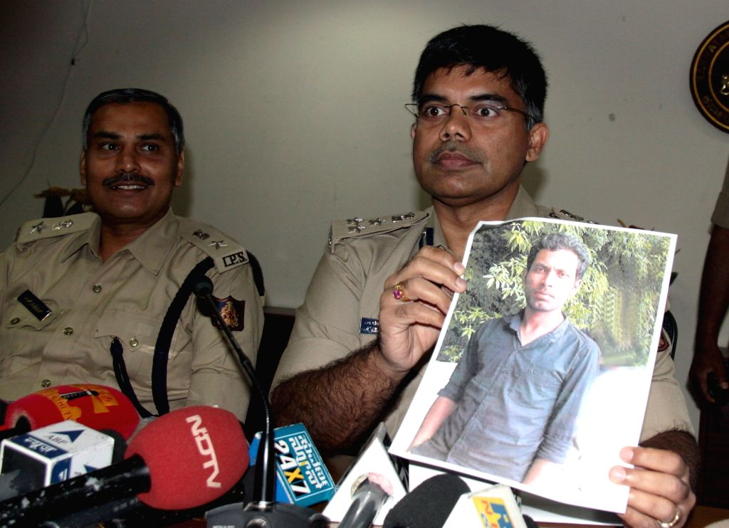 Joint Commissioner of Police (crime) M Chandrashekar addresses a press conference regarding arrest of Sayed Nimayath, the aide of underworld don Chhota Rajan in Bengaluru, on Nov 18, 2015.