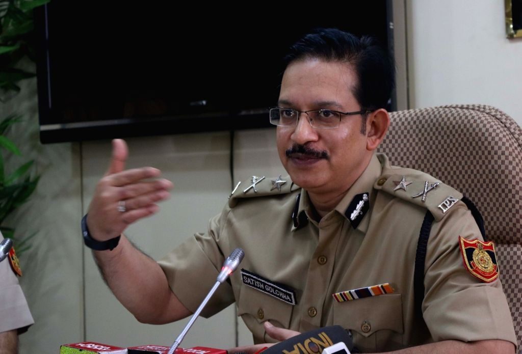 Joint Commissioner of Police (Eastern range) Satish Golcha addresses a press conference regarding arrest of members of a cheating module active across India at Delhi Police headquarters in ...