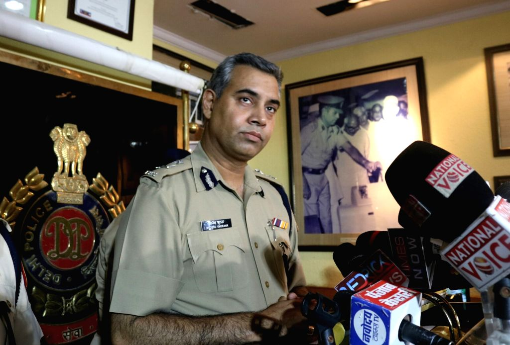 Joint Commissioner of Police (northern range) Rajesh Khurana addresses a press conference regarding E-rickshaw driver murder case in New Delhi, on May 31, 2017.