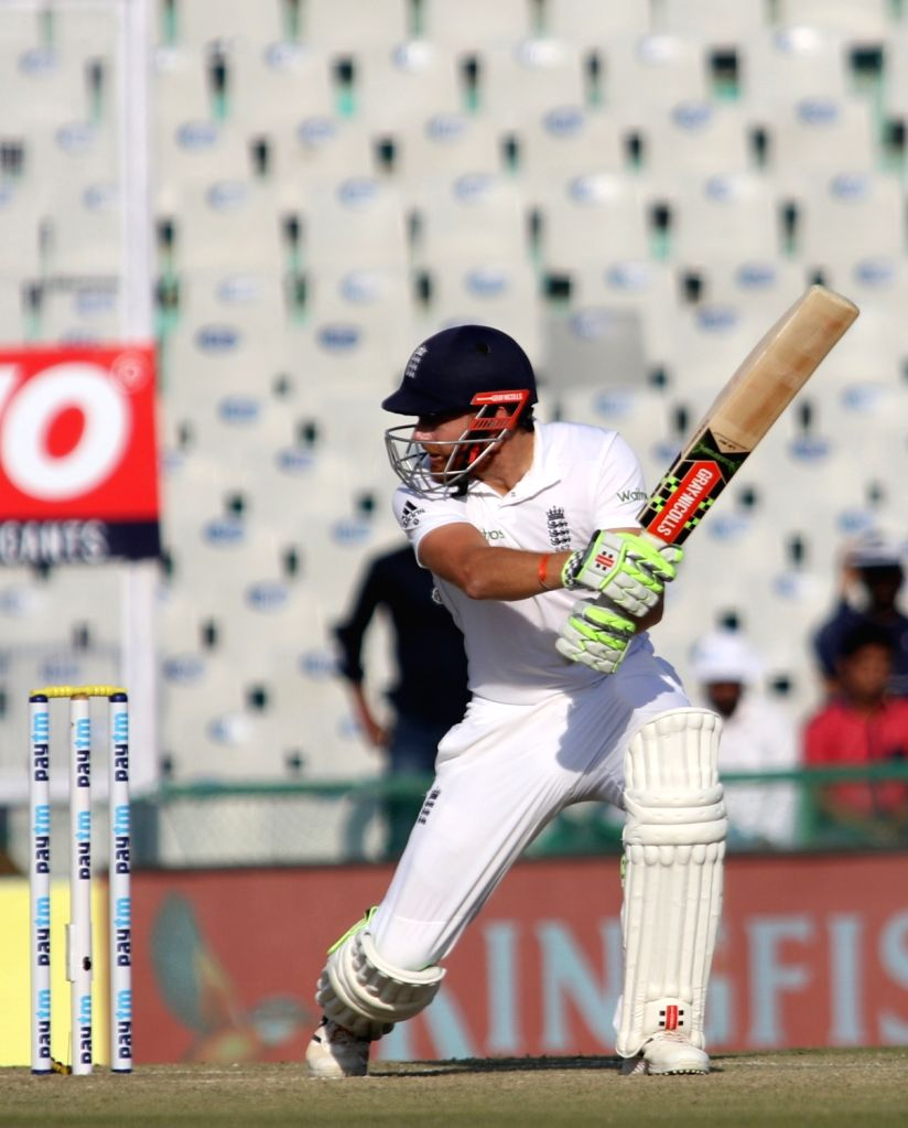 Jonny Bairstow of England in action during the third test match between India and England at Punjab Cricket Association IS Bindra Stadium in Mohali on Nov 26, 2016.